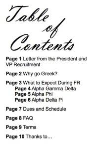 PNM booklet table of contents